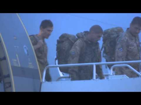 Prince Harry arrives home: Plane lands at RAF Brize Norton in Oxfordshire