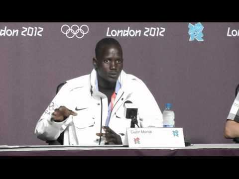 Refugee marathon runner Guor Marial competes 'for whole world' at 2012 Olympics