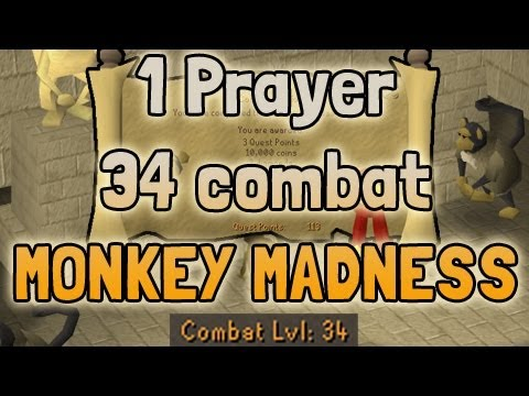 1 Prayer, 34 Combat – Monkey Madness DONE – How did I do it? Runescape 2007