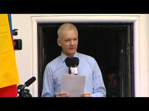 WikiLeaks founder Julian Assange speaks from Ecuadorian Embassy in London