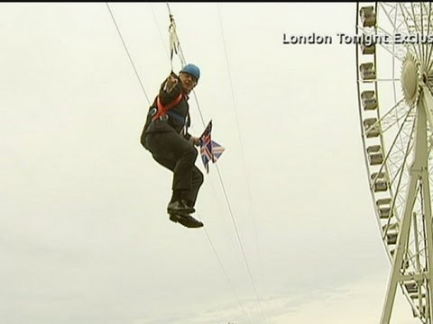 Boris Johnson jokes he is 'a prat on a zip wire'