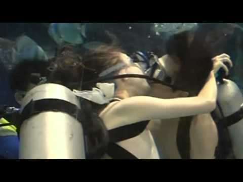 Underwater kissing competition at a sea world in China