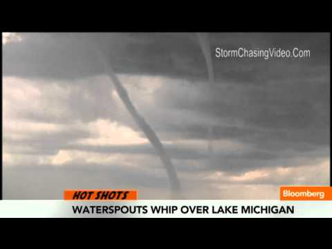 Nine `Waterspouts' Whip Over Lake Michigan