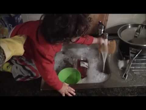 Funny Toddler Washes Dishes