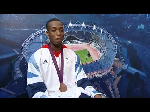 Team GB's Lutalo Muhammad talks after winning Olympic bronze in the Taekwondo at London 2012