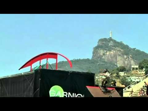 Skateboarders try out giant ramp in Brazil