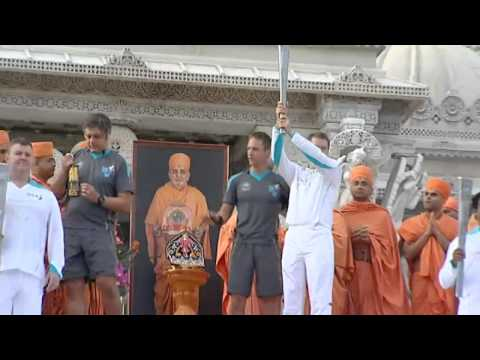 London 2012: Paralympic Torch arrives in London via Neasden Temple