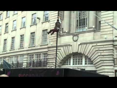 Boris Johnson speaks at Piccadilly Circus Circus about his zip wire incident