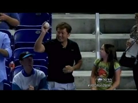 Man Takes Foul Ball From Little Girl: Video Shows Young Girl Upset After Happy Fan Grabs Ball
