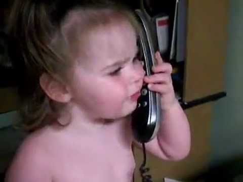 Funny Baby talks on phone