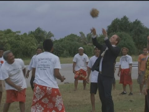 Prince William throws coconuts in Tuvalu