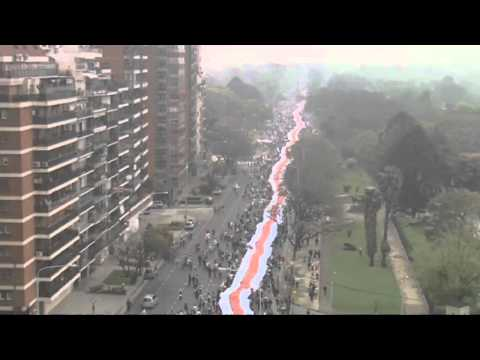 Record attempt for the world's longest flag in Argentina