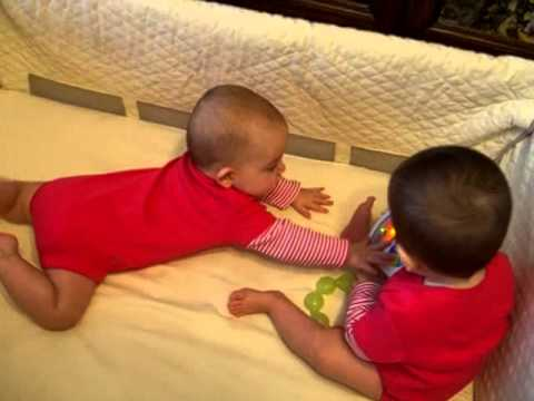 Twin Battle: Babies Will Fight Over The Baby Einstein, Take Along Tunes Toy. Just LOOK! :)
