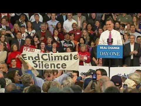 Mitt Romney Heckled in Virginia: Supporters Drown Out Climate Change Protester in Virginia