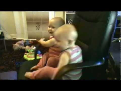 Funny Babies – Twins Spinning on a Chair getting dizzy and giggling