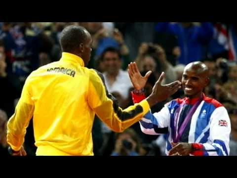 Mo Farah and Usain Bolt swap poses after Team GB's Olympic 5000m gold medal