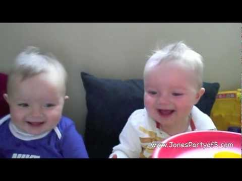 CUTE baby twins laughing with a Laughing Monkey | funny baby videos!