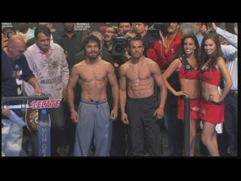 Manny Pacquiao and Juan Manuel Marquez weigh in ahead of fourth showdown in Las Vegas